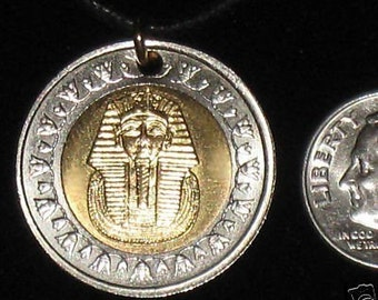 King tut pendant etsy authentic egyptian king tut coin necklace pendant silver gold aloadofball Gallery