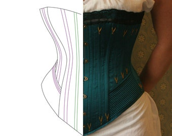 Pretty Housemaid Late Victorian Corset Pattern FIXED SIZE US 8-10. Printable pdf