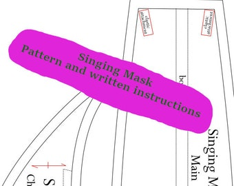 Singer's mask PDF pattern with written instructions DIGITAL DOWNLOAD