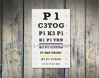 Knitter's Eye Chart (TM) Knitter Gift Idea As Seen in Vogue Knitting Fall and Interweave Knits Holiday Gifts 2011 12 x 18 Inch Print
