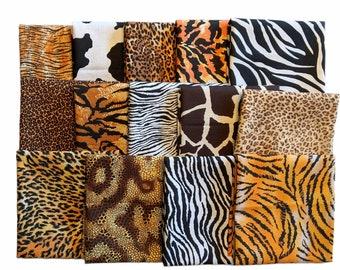 14 Piece Animal Print Quilt Fabric Fat Quarter Bundle Cotton