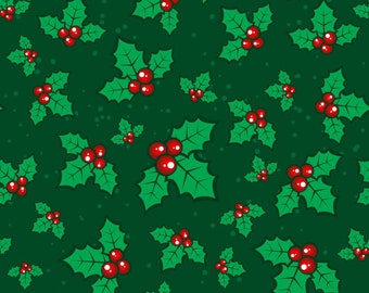 Christmas Fabric Holly on Dark Green Background 100% Cotton