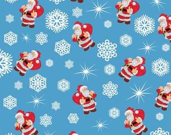 Christmas Fabric Santa Claus Snow Flakes on Light Blue Background 100% Cotton