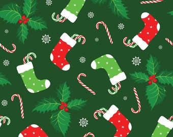 Christmas Fabric Stockings Candy Canes on Dark Green Background 100% Cotton