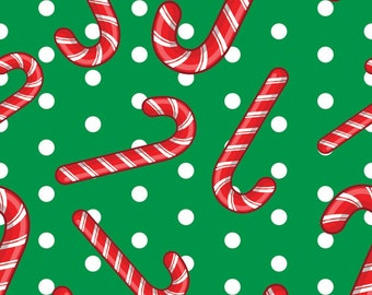 Christmas Fabric Candy Canes on Green Background 100% Cotton