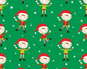 Christmas Fabric Elves Elf on Green Background 100% Cotton