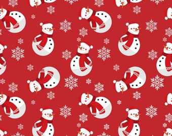 Christmas Fabric Snowman Snowmen on Red Background 100% Cotton