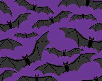 Halloween Quilt Fabric - Black Bats on Purple Background 100% Cotton