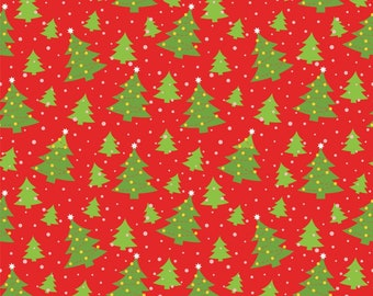 Christmas Tree Fabric on Red Background 100% Cotton
