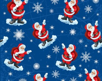 Christmas Fabric Santa Claus Snowflakes on Blue Background 100% Cotton