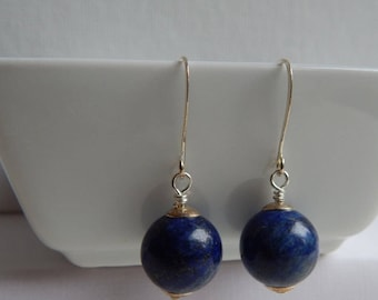 Lapis Lazuli  with Pyrite Beads. Sterling Bead Caps. Earrings