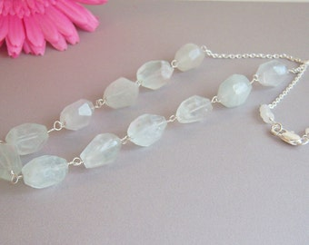 Sea Green Quartz Wire Wrapped Necklace