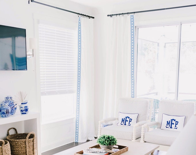 Featured listing image: The Mckenzie Custom Linen Blue Lattice Trim Drapes with Thermal Lining