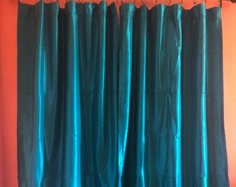 Teal Taffeta Drapes with Thermal Lining