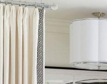 The Linen Greek Key Trim Drapes