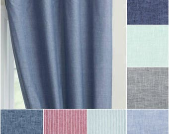 Custom Chambray 100% Linen Drapes with Lining - (You Pick the color and size)