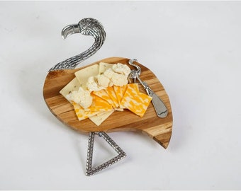 Flamingo Cheese Board and Spreader Set