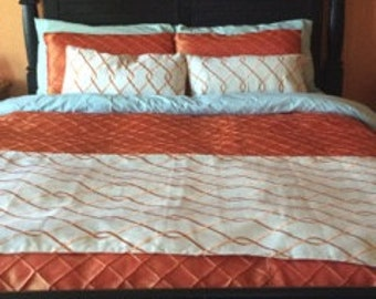 Full/Queen Suburban Home Orange Trellis Lined Bed Runner and Pillows set- ready to ship