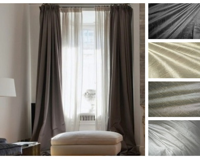 Featured listing image: Shades of Gray Silk Dupioni Drape with Lining - You pick the color and style