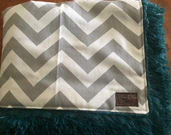 Grey Chevron and Teal Minky Baby Blanket