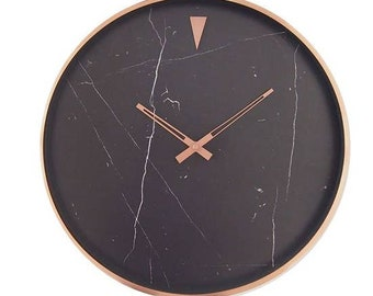 Black Marble and Copper Wall Clock