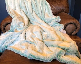 Large Aqua Ombre and Weasel Fur Blanket