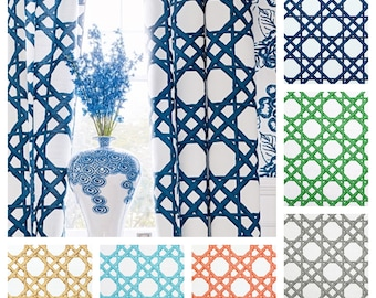 Custom Designer Thibaut Summer House Drapes: You pick the fabric and style - Lined