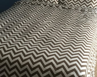 Custom Brown Chevron Duvet - other colors/Patterns available