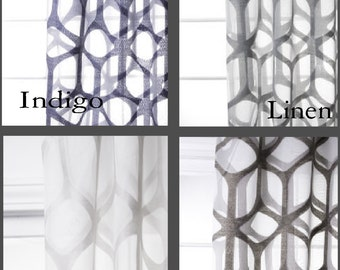 Custom Modern Arch Trellis Sheer Drapes