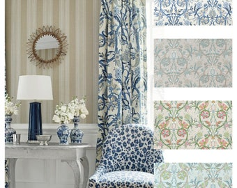 Custom Designer Thibaut Peacock Garden Drapes You pick the fabric and style - Lined
