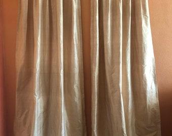 Pair of Silk Dupioni Drape with Thermal Lining- Ready to Ship