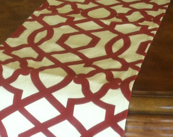 "Red Trellis Table Runner with Velvet Detail up to 106"" long"