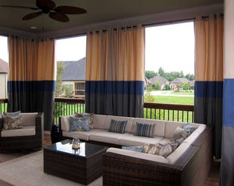 Designer Custom Outdoor Stripe and Solid Patio Drapes - You pick the style and colors