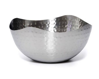 Hammered Stainless Steel Salad Serving Bowl