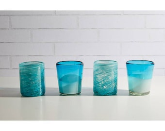 Handblown Aqua Glasses - Set of 4