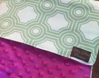 Metro Minky Large Fuschia Baby Blanket