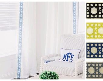 The Mckenzie Custom Linen Blue Lattice Trim Drapes with Thermal Lining