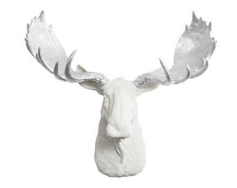 Large White Moose Wall Art