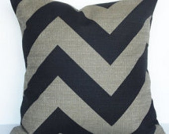 Black and Denton Beige Large Chevron Pillow Cober