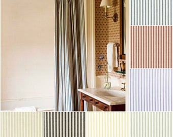 Custom Cotton Ticking Stripe Drapes - Lined