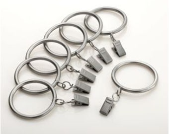 Designer Metal Drapery Rings - you pick the finish