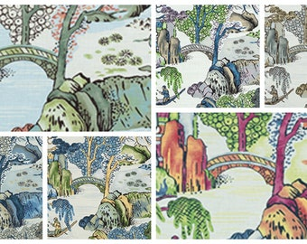 Custom Designer Thibaut Asian Scenic Drapes You pick the fabric and style - Lined
