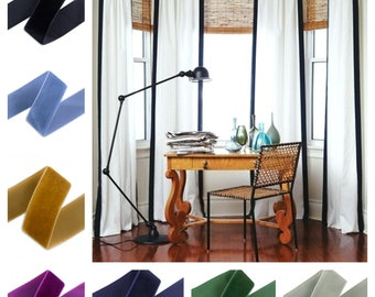 Custom Linen Velvet Ribbon Trim Drapes with Thermal Lining- Other colors available