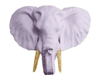 Large Elephant Head Wall Art - white, mint, or lavender
