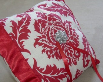 Victorian Red Damask Ring Bearer Pillow