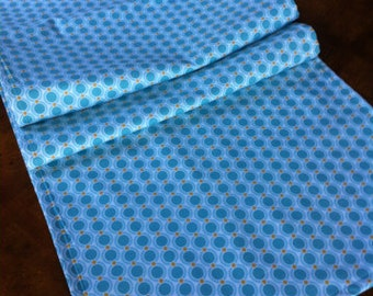 "Aqua table runner 17"" x up to 74"" long- ready to ship"