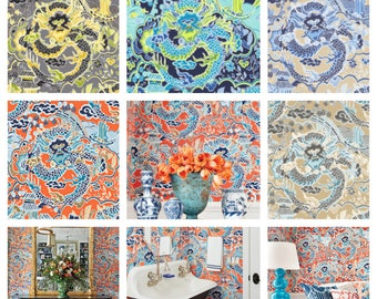 Designer Thibaut Imperial Dragon Wallpaper (Packaged in double rolls) (other colors available)