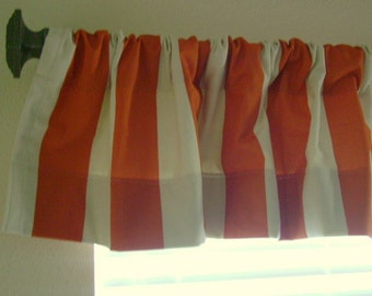 "Orange and Ivory Canopy Stripe Valance 54""x13""- Ready to ship"