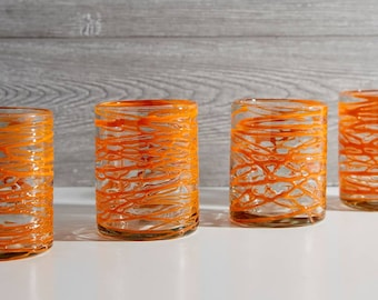 Handblown Orange Swirl Glasses - Set of 4