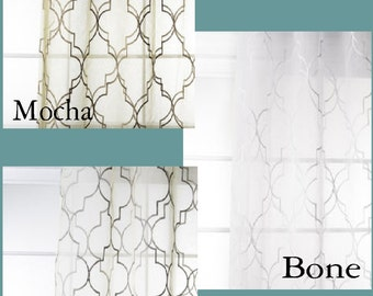 Custom Modern Fretwork Sheer Drapes